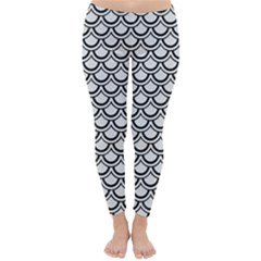 Scales2 Black Marble & White Linen Classic Winter Leggings