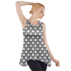 Scales2 Black Marble & White Linen Side Drop Tank Tunic