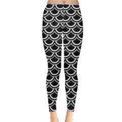 Scales2 Black Marble & White Linen (r) Leggings