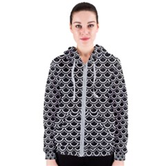 Scales2 Black Marble & White Linen (r) Women s Zipper Hoodie