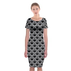 Scales2 Black Marble & White Linen (r) Classic Short Sleeve Midi Dress