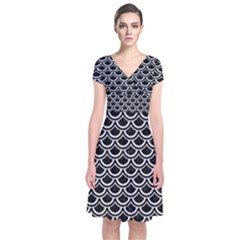 Scales2 Black Marble & White Linen (r) Short Sleeve Front Wrap Dress