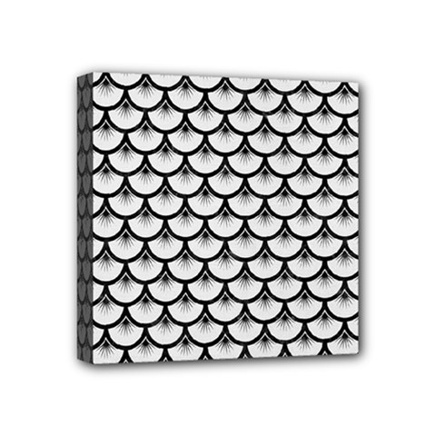 Scales3 Black Marble & White Linen Mini Canvas 4  X 4