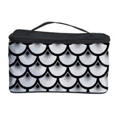 Scales3 Black Marble & White Linen Cosmetic Storage Case