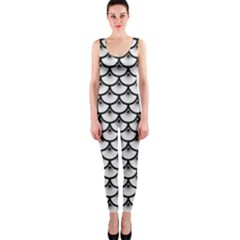 Scales3 Black Marble & White Linen Onepiece Catsuit