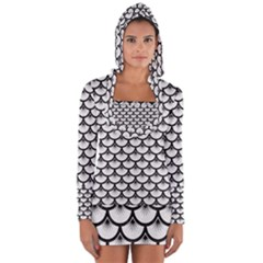 Scales3 Black Marble & White Linen Long Sleeve Hooded T Shirt