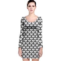 Scales3 Black Marble & White Linen Long Sleeve Velvet Bodycon Dress