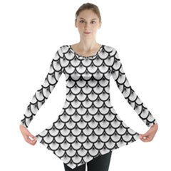 Scales3 Black Marble & White Linen Long Sleeve Tunic