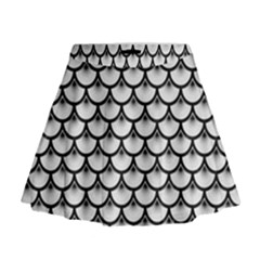 Scales3 Black Marble & White Linen Mini Flare Skirt