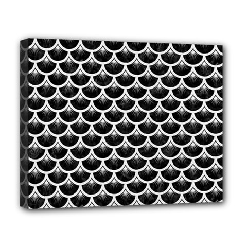 Scales3 Black Marble & White Linen (r) Deluxe Canvas 20  X 16