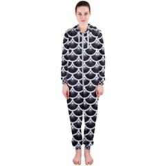 Scales3 Black Marble & White Linen (r) Hooded Jumpsuit (ladies)