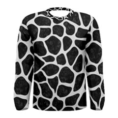 Skin1 Black Marble & White Linen Men s Long Sleeve Tee