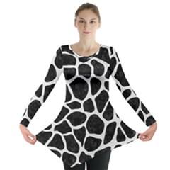 Skin1 Black Marble & White Linen Long Sleeve Tunic