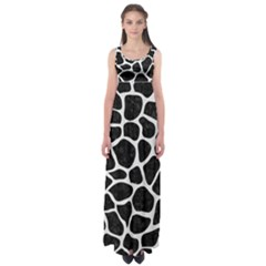 Skin1 Black Marble & White Linen Empire Waist Maxi Dress