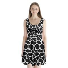 Skin1 Black Marble & White Linen Split Back Mini Dress