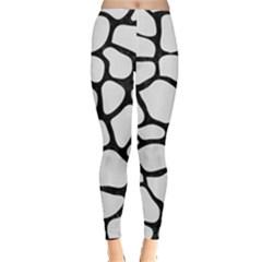 Skin1 Black Marble & White Linen (r) Leggings