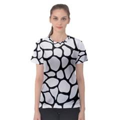 Skin1 Black Marble & White Linen (r) Women s Sport Mesh Tee