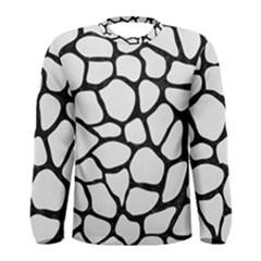 Skin1 Black Marble & White Linen (r) Men s Long Sleeve Tee