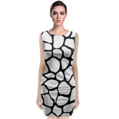 Skin1 Black Marble & White Linen (r) Sleeveless Velvet Midi Dress