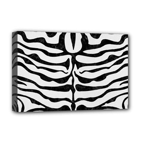 Skin2 Black Marble & White Linen Deluxe Canvas 18  X 12
