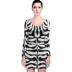 Skin2 Black Marble & White Linen Long Sleeve Velvet Bodycon Dress