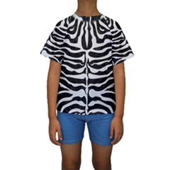 Skin2 Black Marble & White Linen (r) Kids  Short Sleeve Swimwear