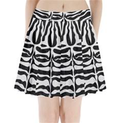 Skin2 Black Marble & White Linen (r) Pleated Mini Skirt