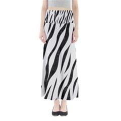 Skin3 Black Marble & White Linen Full Length Maxi Skirt