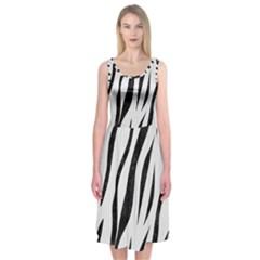 Skin3 Black Marble & White Linen Midi Sleeveless Dress