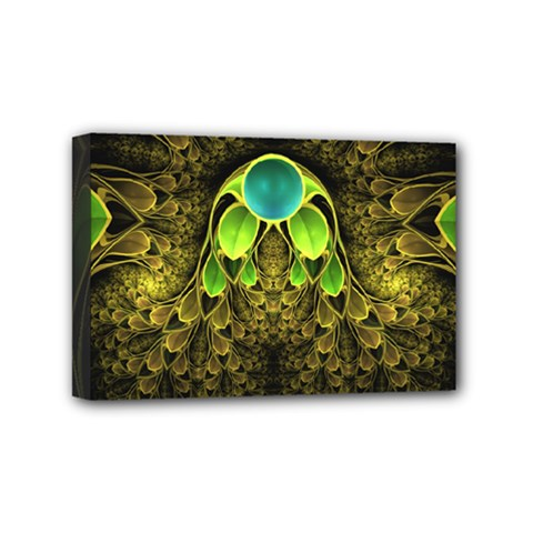 Beautiful Gold And Green Fractal Peacock Feathers Mini Canvas 6  X 4
