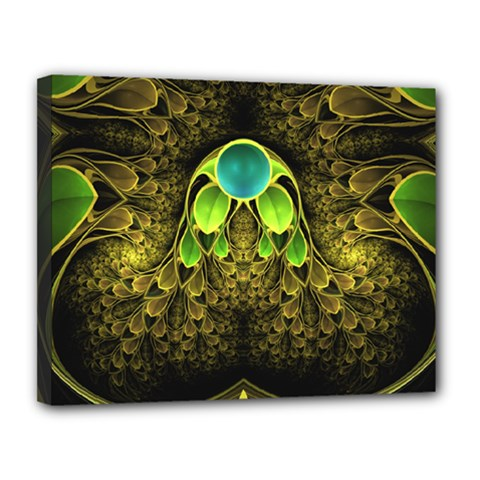 Beautiful Gold And Green Fractal Peacock Feathers Canvas 14  X 11