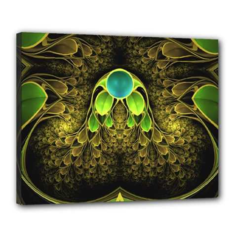 Beautiful Gold And Green Fractal Peacock Feathers Canvas 20  X 16