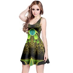 Beautiful Gold And Green Fractal Peacock Feathers Reversible Sleeveless Dress