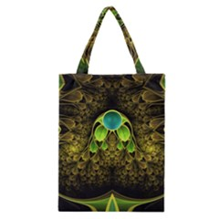 Beautiful Gold And Green Fractal Peacock Feathers Classic Tote Bag