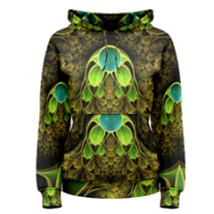Beautiful Gold And Green Fractal Peacock Feathers Women s Pullover Hoodie