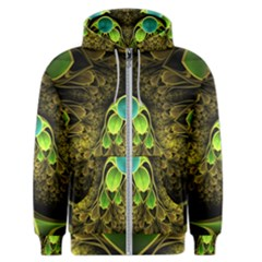 Beautiful Gold And Green Fractal Peacock Feathers Men s Zipper Hoodie