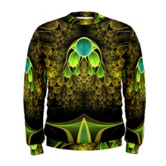 Beautiful Gold And Green Fractal Peacock Feathers Men s Sweatshirt
