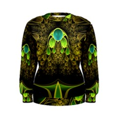 Beautiful Gold And Green Fractal Peacock Feathers Women s Sweatshirt
