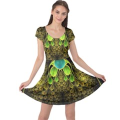 Beautiful Gold And Green Fractal Peacock Feathers Cap Sleeve Dress
