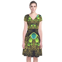 Beautiful Gold And Green Fractal Peacock Feathers Short Sleeve Front Wrap Dress