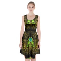 Beautiful Gold And Green Fractal Peacock Feathers Racerback Midi Dress