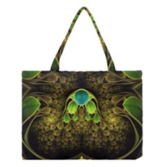 Beautiful Gold And Green Fractal Peacock Feathers Medium Tote Bag