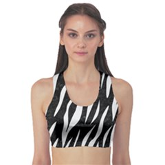 Skin3 Black Marble & White Linen (r) Sports Bra