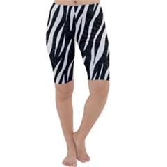 Skin3 Black Marble & White Linen (r) Cropped Leggings