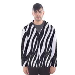 Skin3 Black Marble & White Linen (r) Hooded Wind Breaker (men)