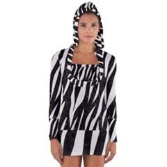 Skin3 Black Marble & White Linen (r) Long Sleeve Hooded T Shirt