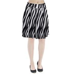 Skin3 Black Marble & White Linen (r) Pleated Skirt