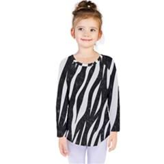 Skin3 Black Marble & White Linen (r) Kids  Long Sleeve Tee