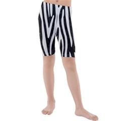 Skin4 Black Marble & White Linen Kids  Mid Length Swim Shorts
