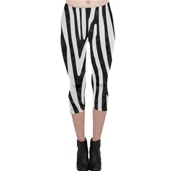Skin4 Black Marble & White Linen Capri Leggings